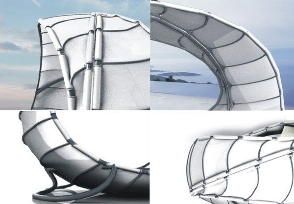 Конструктивни елементи на шезлонг във формата на платно