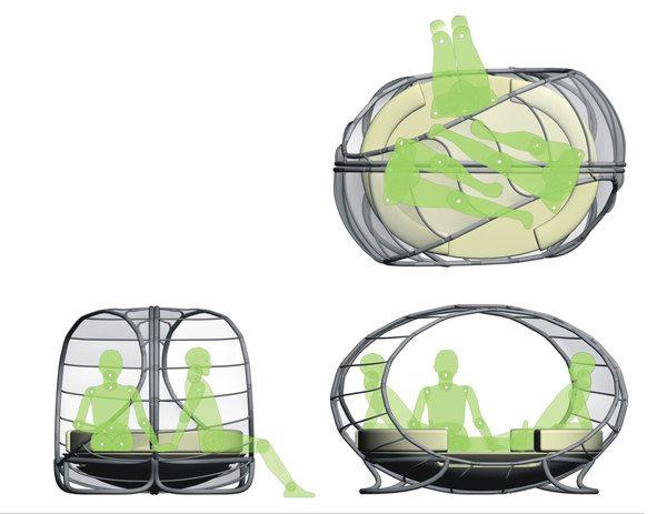 Схематичное размещение людей в крытом шезлонге
