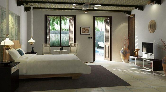 Интерьер спальной, в котором всё совпадает с основным стилем.