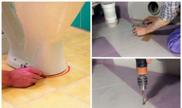 Montaż muszli klozetowej na podłodze wyłożonej kafelkami