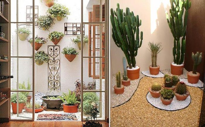 Просто и много красиво решение за преобразуване на интериора на една стая с помощта на мини-градини.