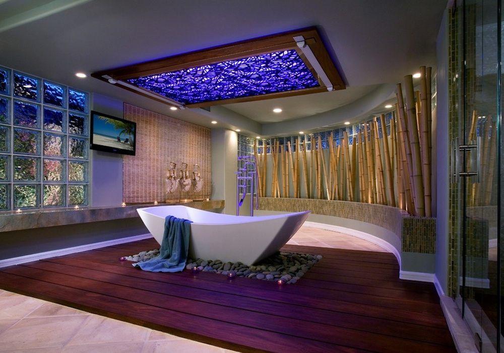 Система освещения в интерьере ванной комнаты