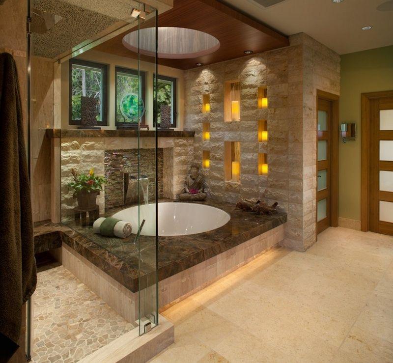 Потолочная система освещения в интерьере ванной
