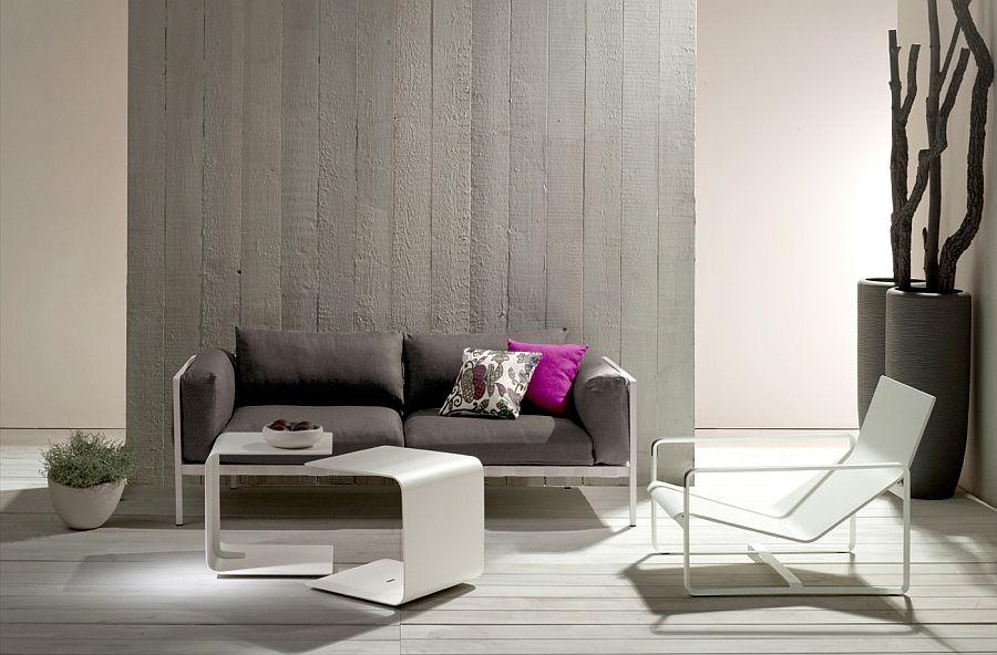 Kreativ sofa, bord og lenestol i stuen