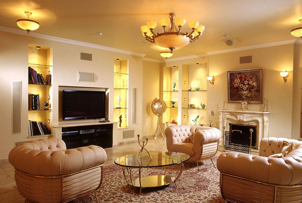 Красивое освещение гостиной зоны
