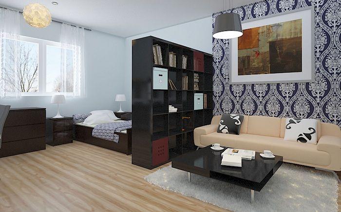 Добър пример за трансформиране и разделяне на пространство в стая, което оптимизира интериора.