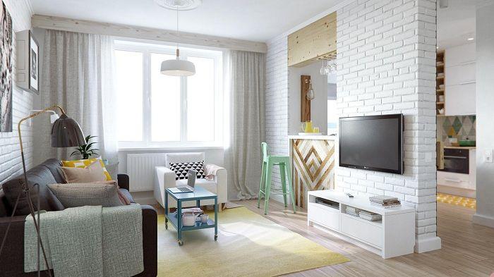 Интересно решение за вътрешна декорация на стая с оригинална каменна преграда.