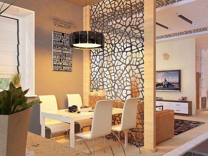 Преградата между дневната и трапезарията оптимизира пространството.
