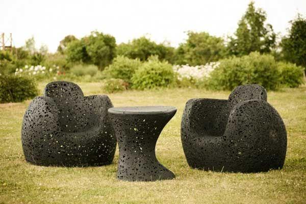 En fantastisk samling hagemøbler laget av basalt