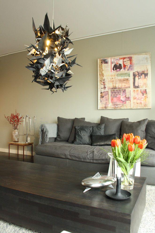 Умопомрачительный подвесной светильник в интерьере гостиной