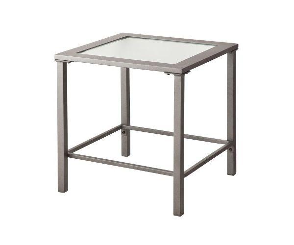 Серый стол с стеклянной столешницей