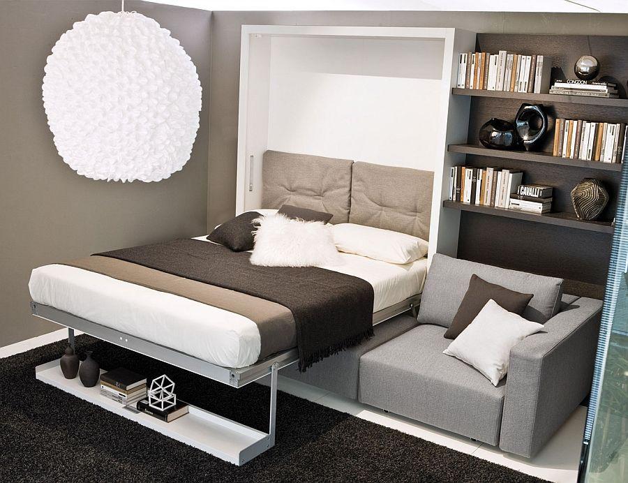 Чудесная кровать-трансформер в интерьере гостиной