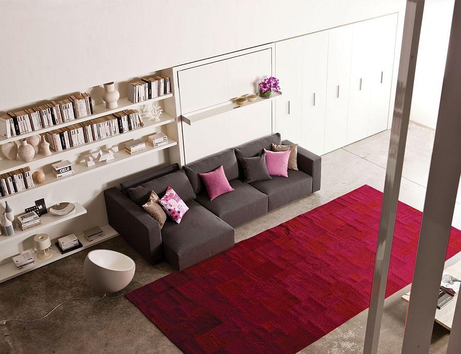 Великолепная кровать-трансформер в интерьере гостиной