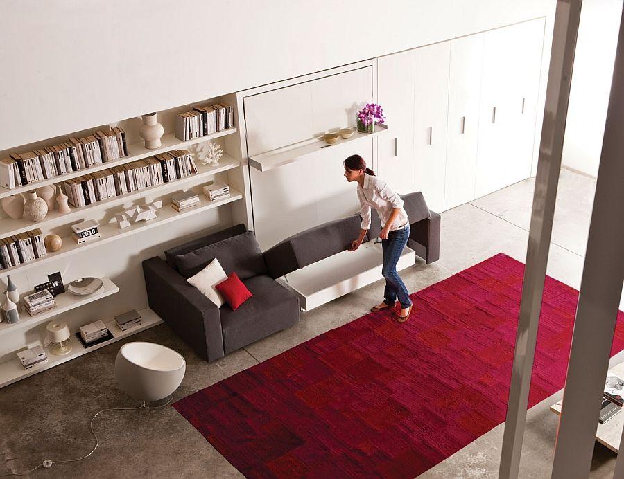 Чудная кровать-трансформер в интерьере гостиной