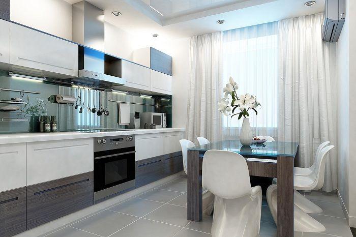 Кухненски интериор, който ще бъде най-добрият вариант за декориране на стая от този вид.