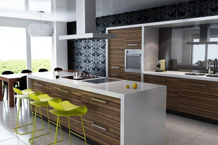 Кухня с дървени елементи, което ще ви позволи бързо да усъвършенствате интериора.