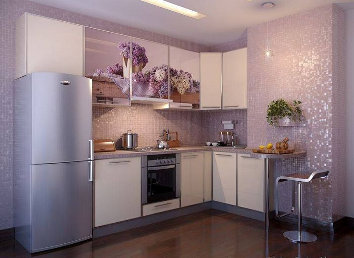 Hyvä vaihtoehto keittiön sisustamiseen nykyaikaisten suuntausten mukaisesti, mikä varmasti miellyttää sitä.