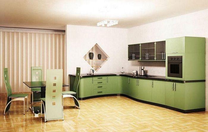 Хубава декорация на кухня в доста маслинови тонове.