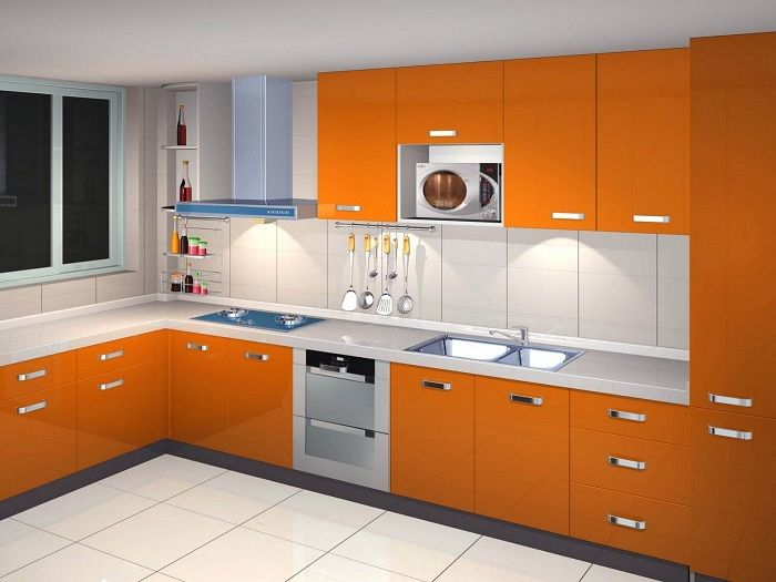 Кухнята е в портокалов цвят, което ще бъде богиня и най-доброто решение.