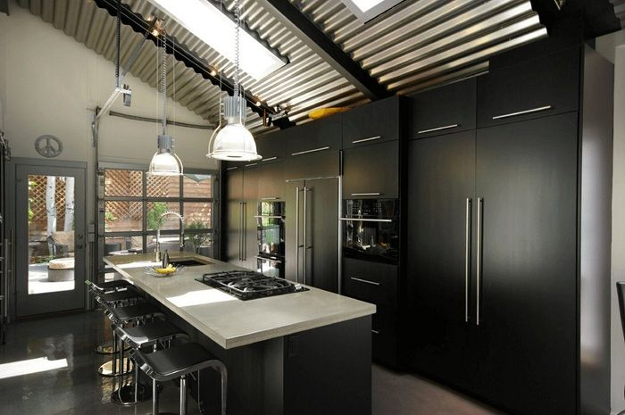 Excellent design de la cuisine en noir et blanc, qui ne sera qu'une superbe solution de décoration.