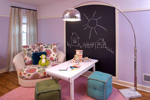 Дъска в детската стая: плоча от шисти, мольберт и маркер