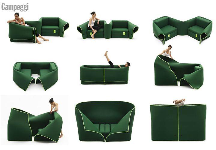 Диван Sosia в зелено от Emanuele Magini