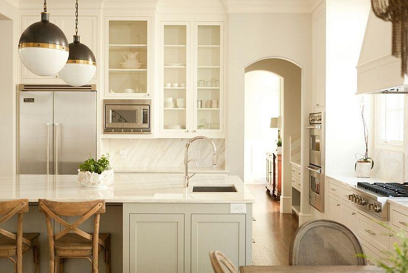 Dekorasjon av kjøkkenområdet i lyse farger