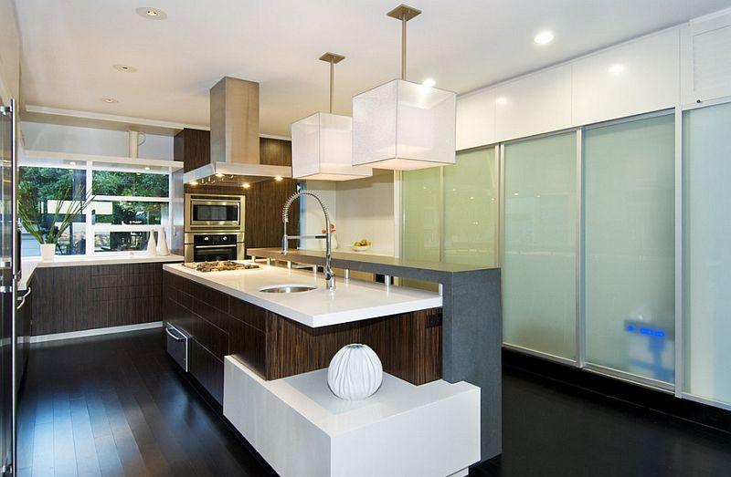 Кръгли лампи в интериора на кухнята