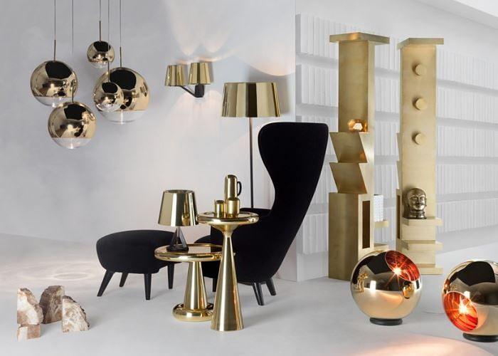 Необычные золотистые светильники