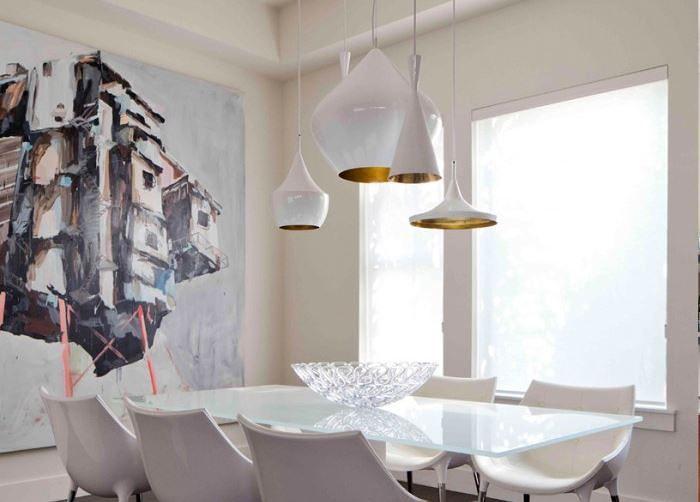 Белые подвесные светильники от Tom Dixon