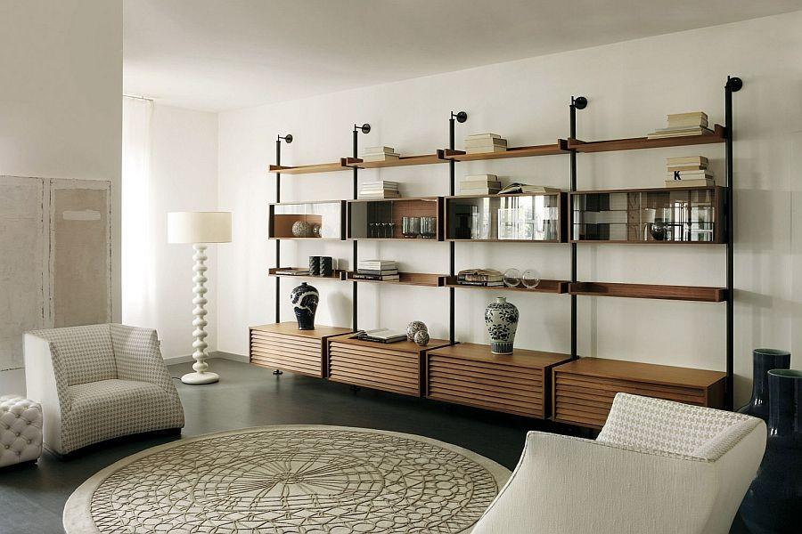 Необичайни подови лампи: красива бяла подова лампа в хола