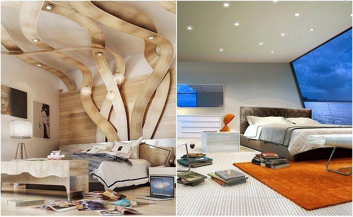 Примери за дизайн на спалня във футуристичен стил.