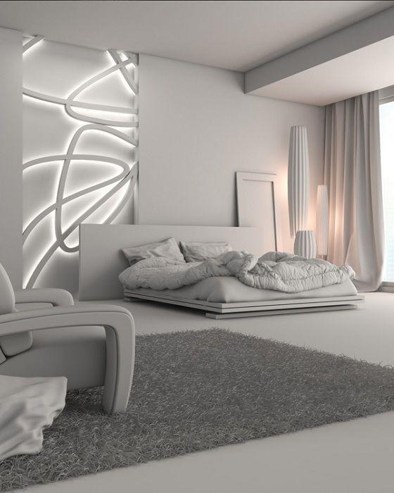Футуристичният интериор на спалнята изглежда много привлекателен и очарователен.