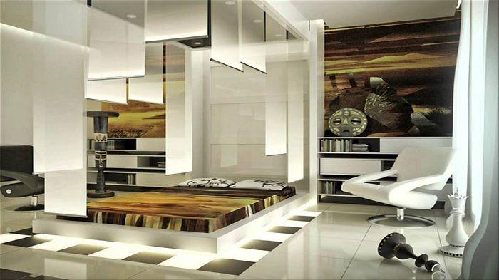 Нестандартна футуристична спалня в етно стил.