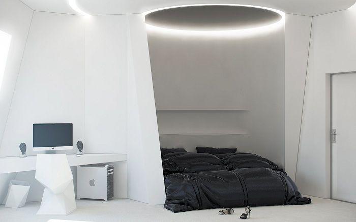 Леглото е портал за стерилно бъдеще в бяло.