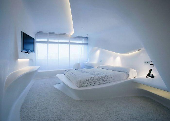 Размита геометрия и светли пространства на спалнята.