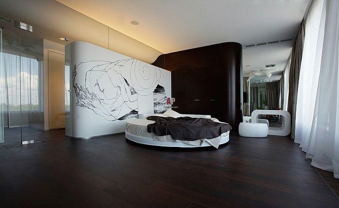 Луксозен черно-бял интериор на спалнята, който няма да остави никого безразличен.