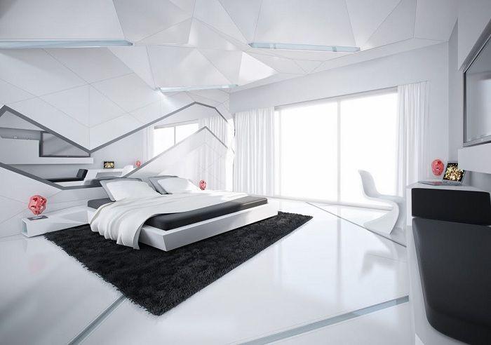 Интериор от бъдещето в черно и бяло.