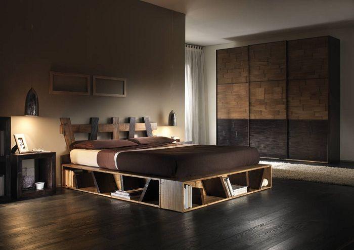 Готин вариант за декориране на интериора на спалнята в тъмни шоколадови цветове.
