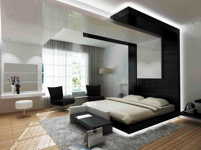 Оригинална черно-бяла спалня във футуристичен стил.