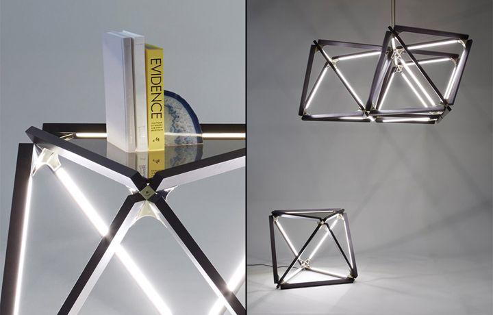 Чудесный журнальный столик и подвесная лампа из коллекции X от Rux