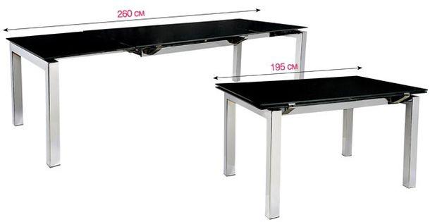 Раздвижной стол из стали и стекла