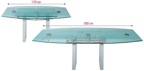 Стекло и сталь в одной модели стола