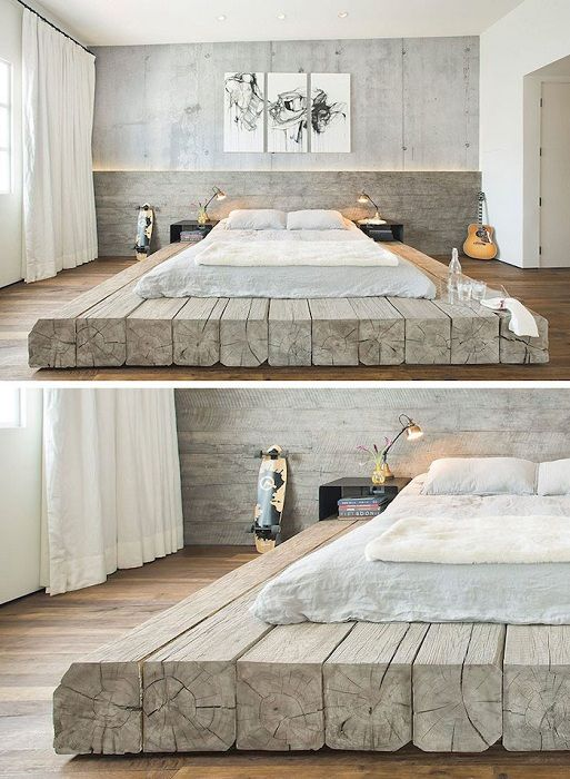 Urocze wnętrze zostało przekształcone w niestandardowe łóżko na drewnianej platformie.