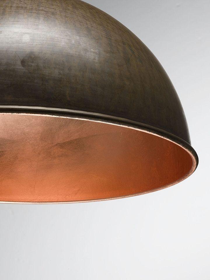 Медная фольга во внутренней отделке плафона светильника Galileo