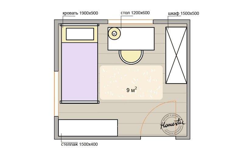L'aménagement de la chambre des enfants est de 9 m².