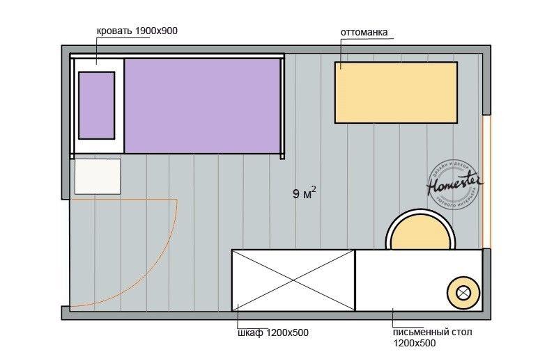 Планировка детской комнаты 9 кв.м.