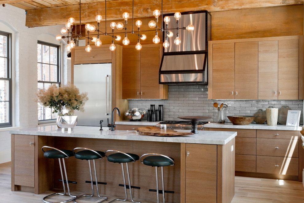 Подвесные лампы в интерьере кухни
