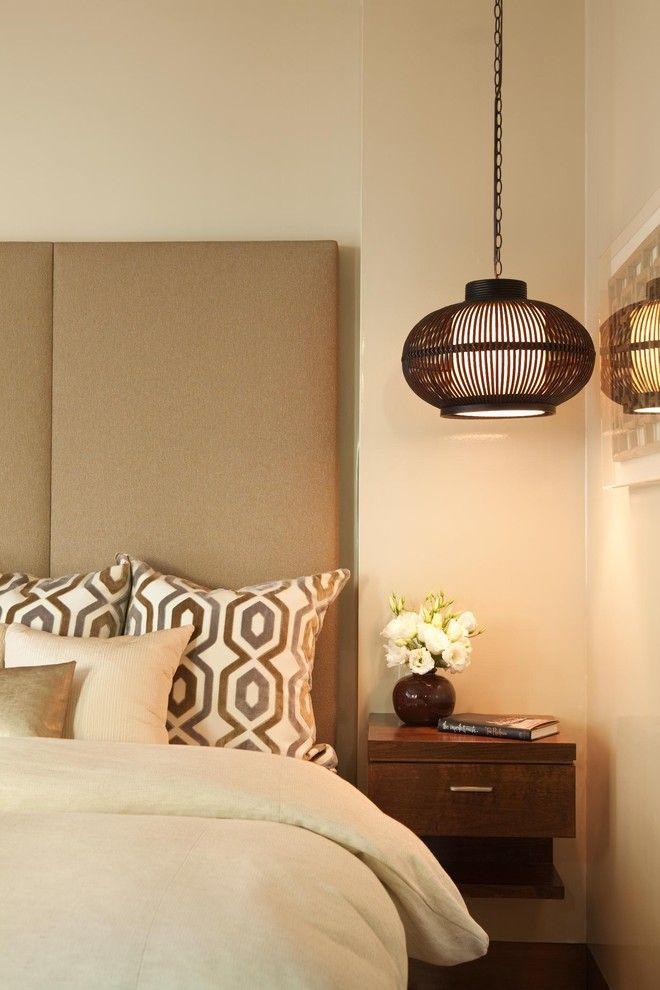 Подвесная люстра в интерьере спальной комнаты