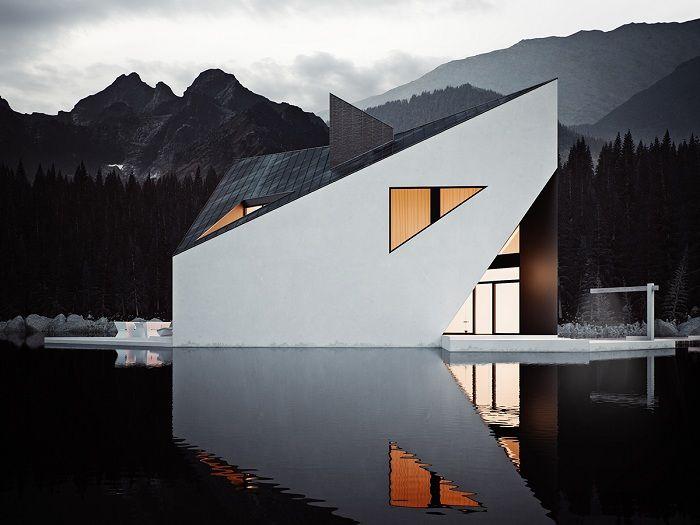 Geometryczne linie domu nad jeziorem.